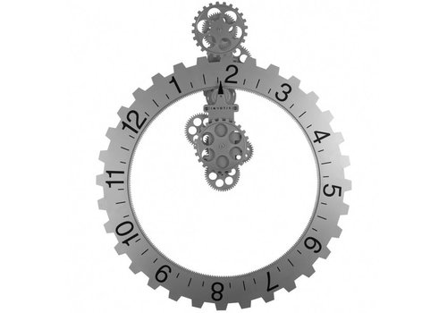 Big hour wheel clock - 55O-zilver