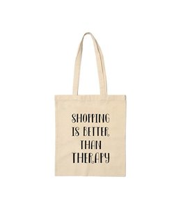 Beezonder Linnen tas Shopping is better than therapy