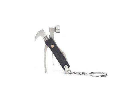 Kikkerland Houten mini gereedschappen aan sleutelhanger-zwart