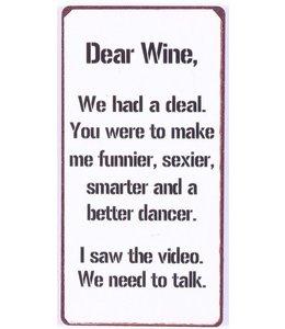 Magneet Dear wine witte uitvoering