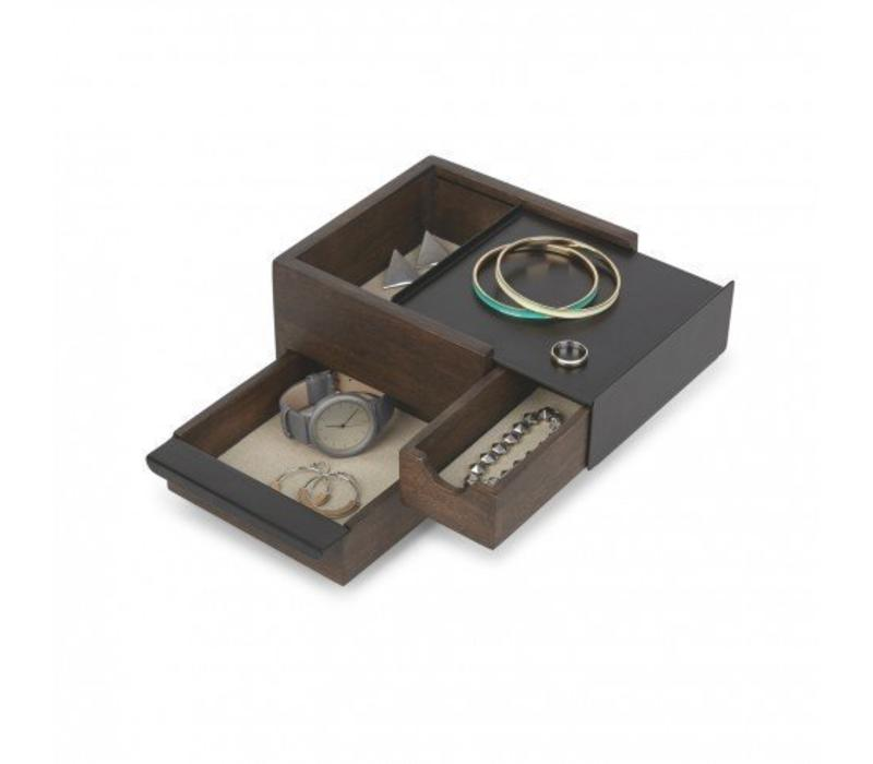 Mini stowit juwelry box black/walnut