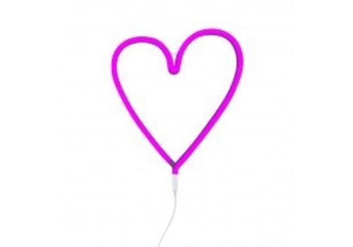 Neon style light heart pink