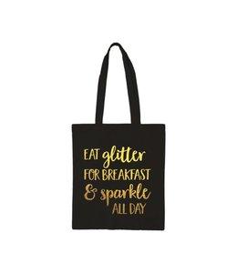 Beezonder Katoenen tas Zwart Eat glitter for breakfast