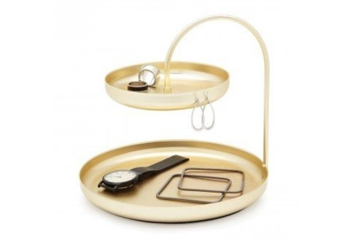 Poise two tiered tray brass