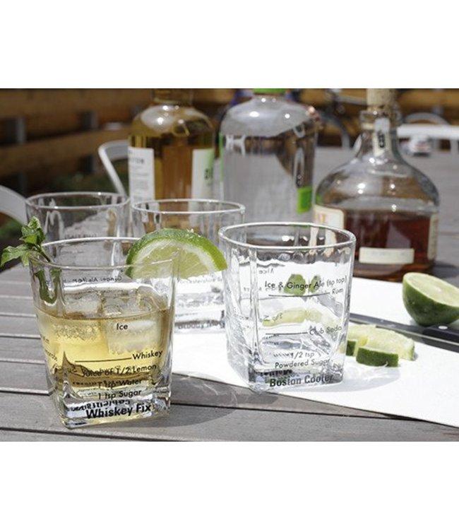 Kikkerland Bartender glazen, set van vier.