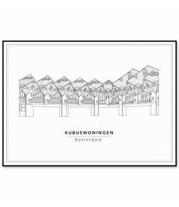 Cityprints Kubus woningen 21x29,7cm