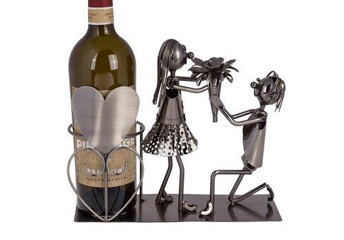 Metalen wijnfles houder Lovers 2