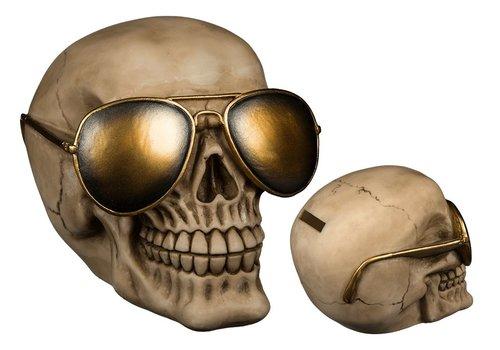 Skull met gouden zonnebril Spaarpot