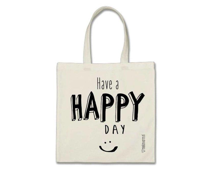 Linnen tas - Have a happy day