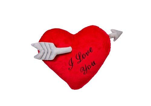 Hartenkussen I Love You met pijl 35cm