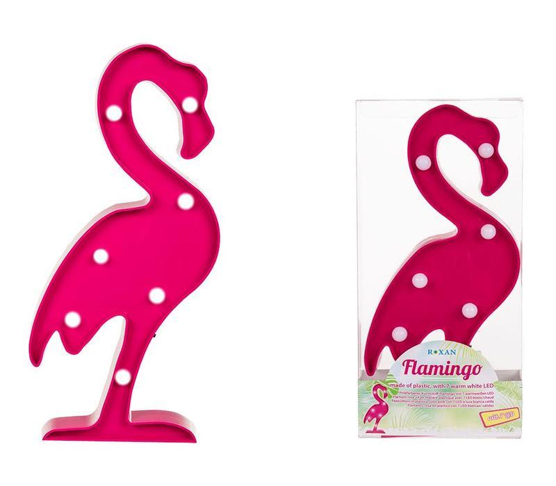 Flamingo lamp met 7 led lampjes