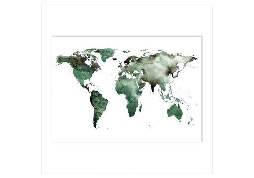 Leo La Douce Artprint A3 - World map green