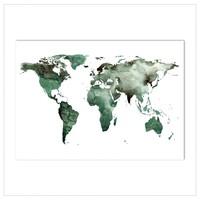 Artprint A4 - World map green