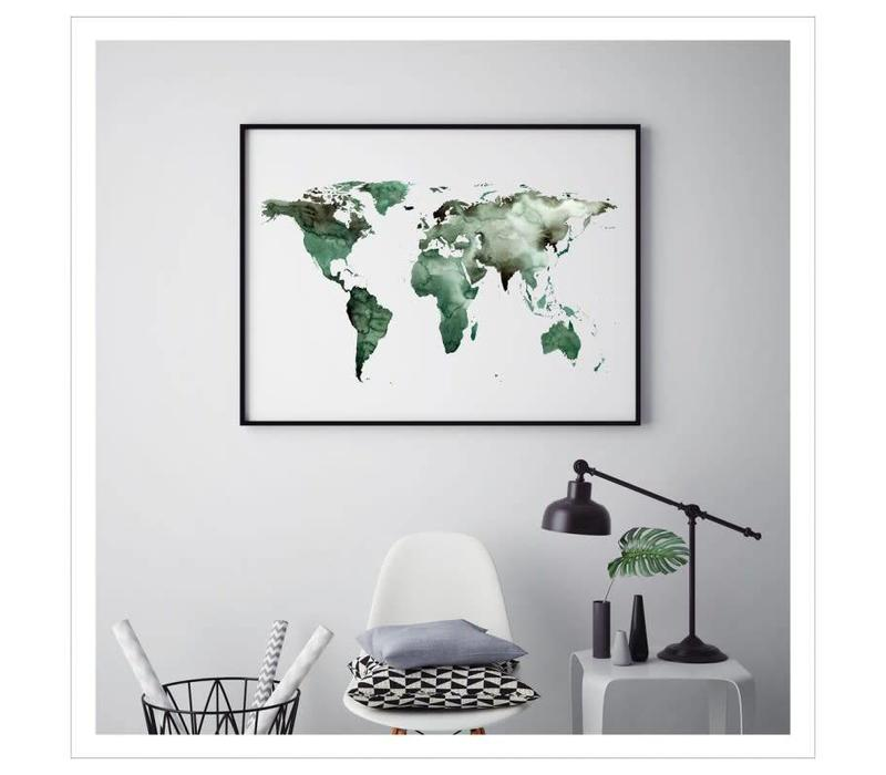 Artprint A4 - World map green