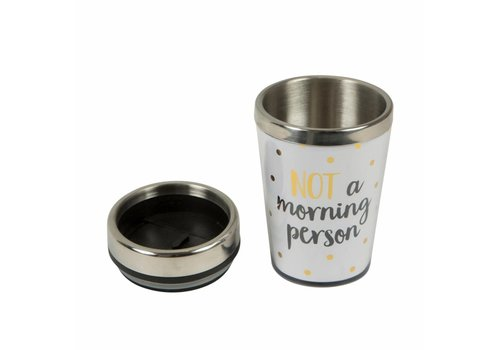 Sass & Belle Metallic monochrome I am not a morning travel mug