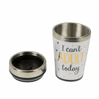 Metallic monochrome I can't adult travel mug