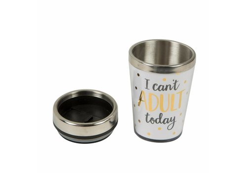 Sass & Belle Metallic monochrome I can't adult travel mug