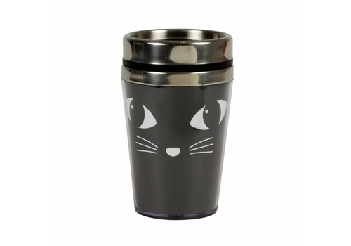 Sass & Belle Black cat travel mug