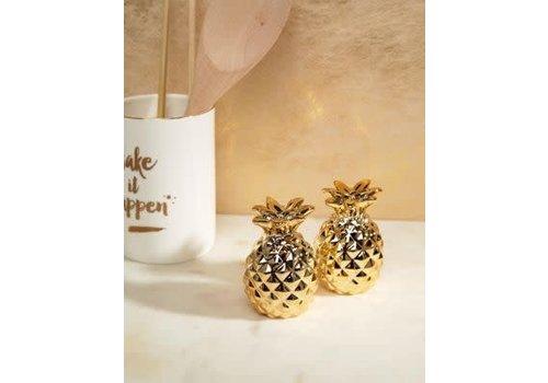 Sass & Belle Gold pineapple salt & pepper shaker set