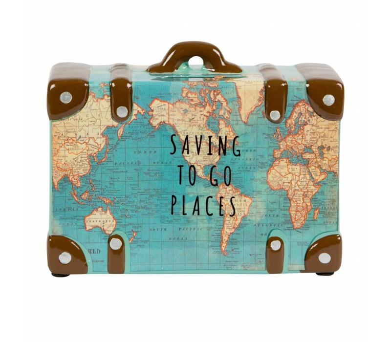 Saving to go places vintage map spaarpot