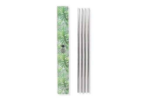 MOX studio Metal straws set of 4 silver 25.4cm