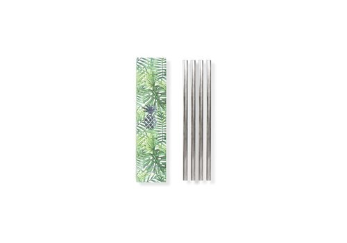 MOX studio Metal straws set of 4 silver 12.7cm