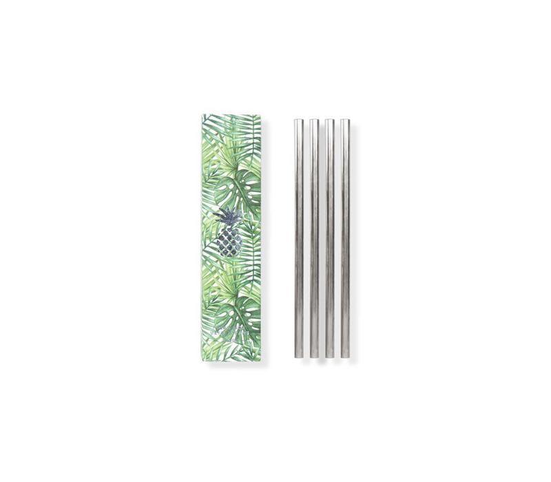 Metal straws set of 4 silver 12.7cm