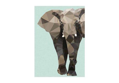 East End Prints Wenskaart Elephant