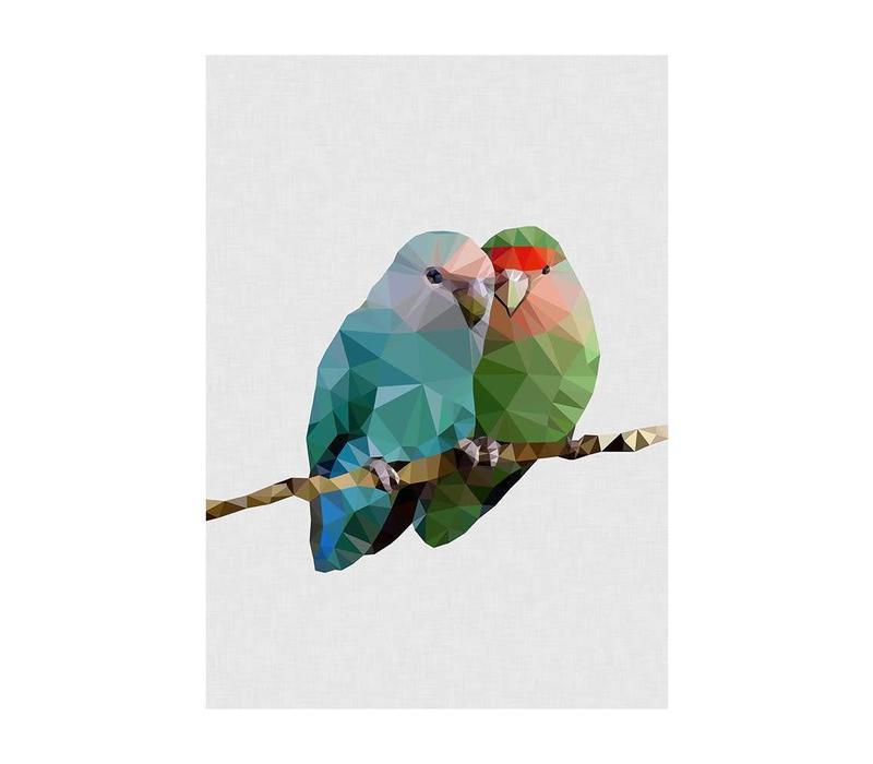 Wenskaart Two Lovebirds