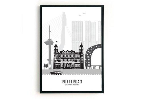 Mevrouw Emmer Rotterdam poster zwart-wit A4