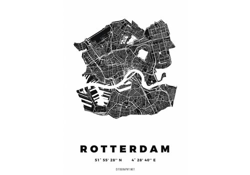 Citography Rotterdam plattegrond Wit 30x40cm