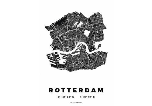 Citography Rotterdam plattegrond Wit 30x40cm