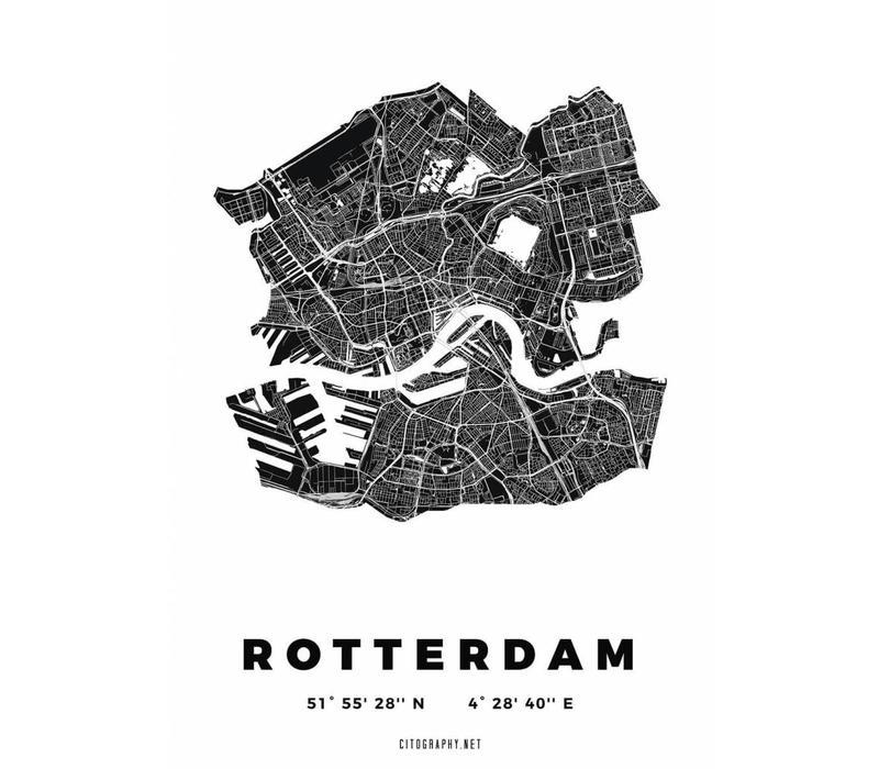 Rotterdam plattegrond Wit 30x40cm