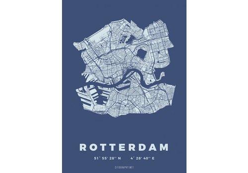 Citography Rotterdam plattegrond Blauw 30x40cm