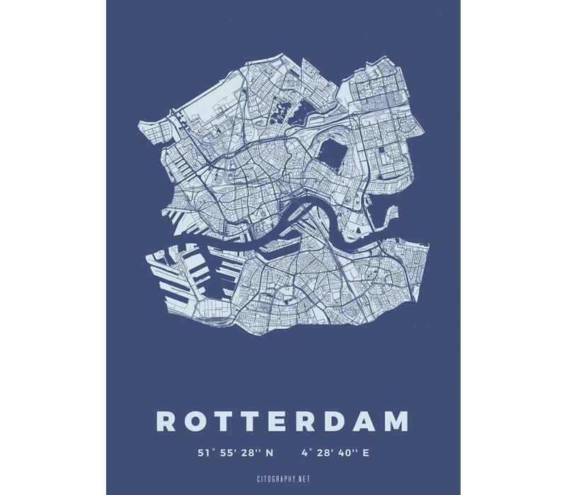 Rotterdam plattegrond Blauw 30x40cm