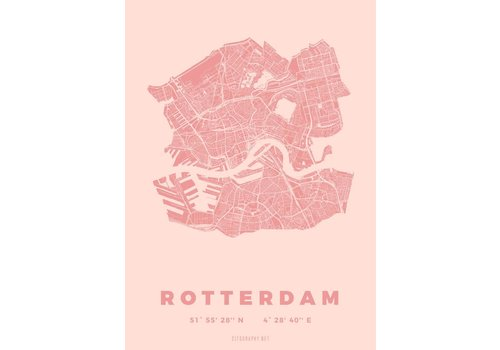 Citography Rotterdam plattegrond Roze 30x40cm