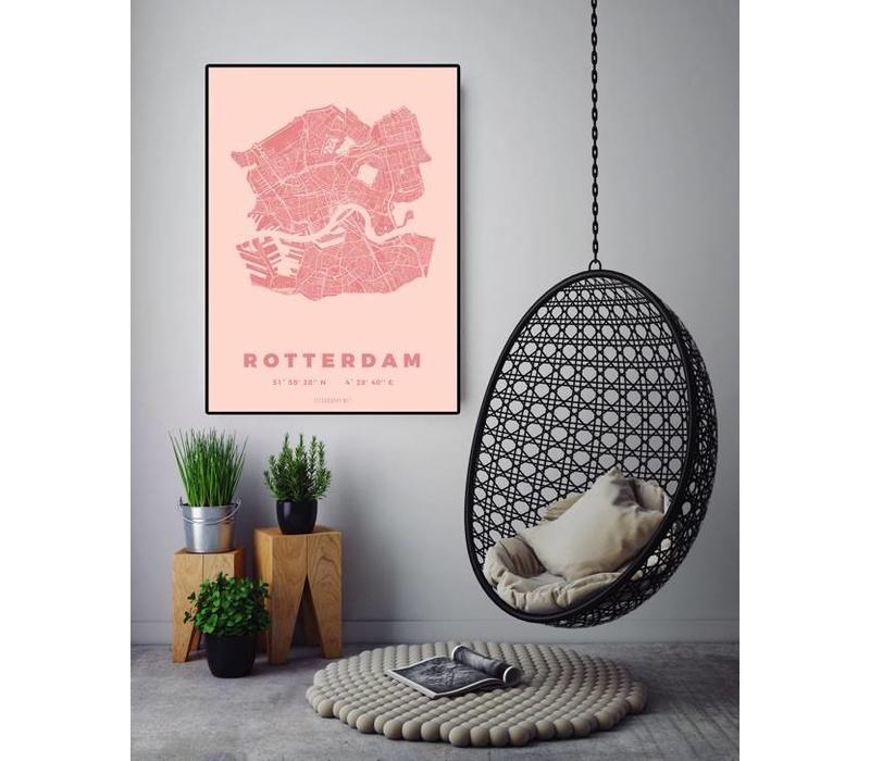 Rotterdam plattegrond Roze 50x70cm
