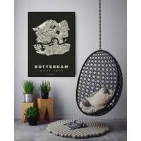 Rotterdam plattegrond Zwart 30x40cm