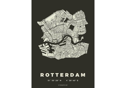 Citography Rotterdam plattegrond Zwart 30x40cm