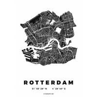 Rotterdam plattegrond wit 50x70cm