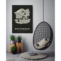 Rotterdam plattegrond zwart 50x70cm