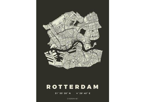 Citography Rotterdam plattegrond zwart 50x70cm