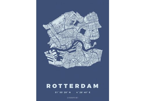 Citography Rotterdam plattegrond blauw 50x70cm
