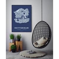 Rotterdam plattegrond blauw 50x70cm