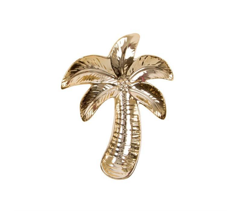 Goudkleurig schaaltje in de vorm van een palm