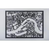 Citymap Rotterdam zwart 30x40cm