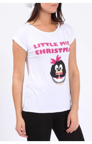 *Kerstshirt Little Miss Christmas Wit