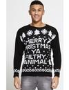 Kersttrui Merry Christmas You Filthy Animal Zwart - Heren