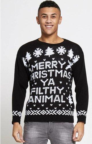 *Kersttrui Merry Christmas You Filthy Animal Zwart - Heren