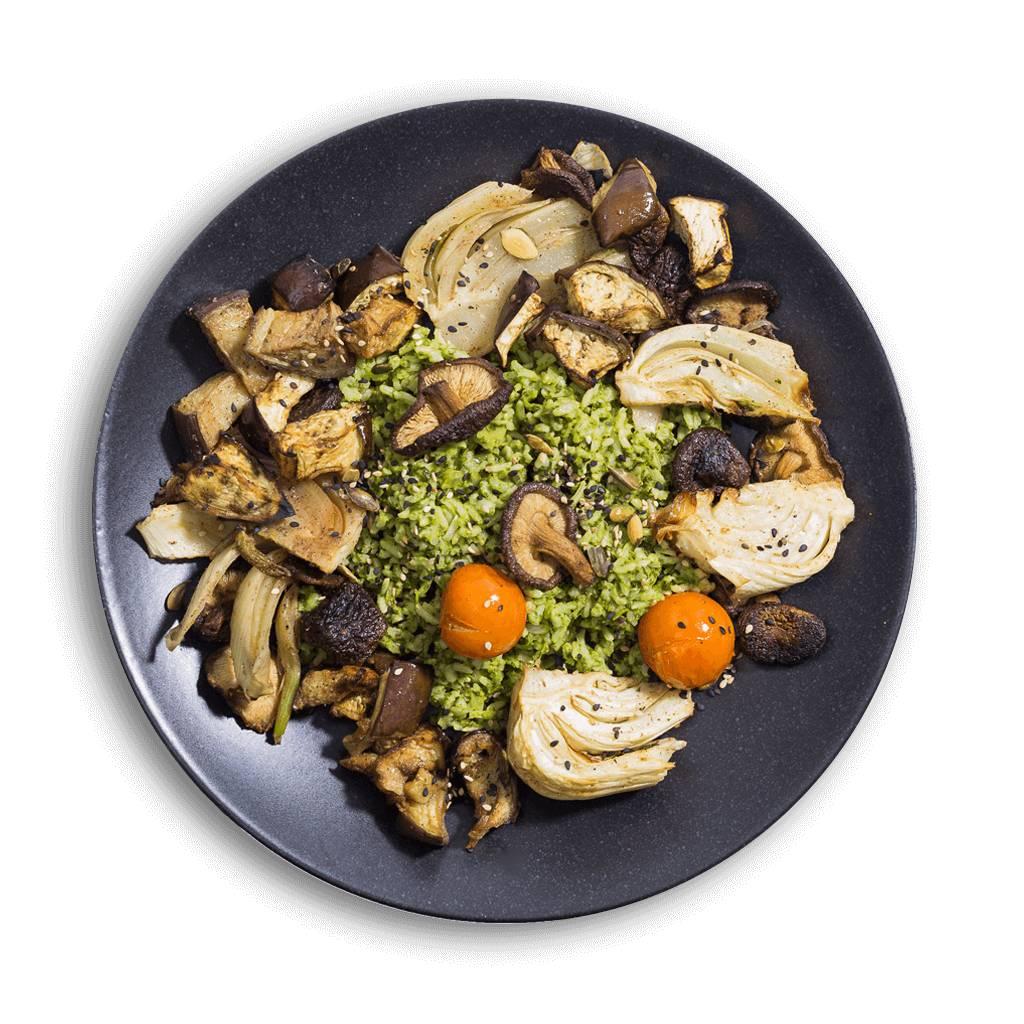 Vegan groene curry met shiitake en venkel